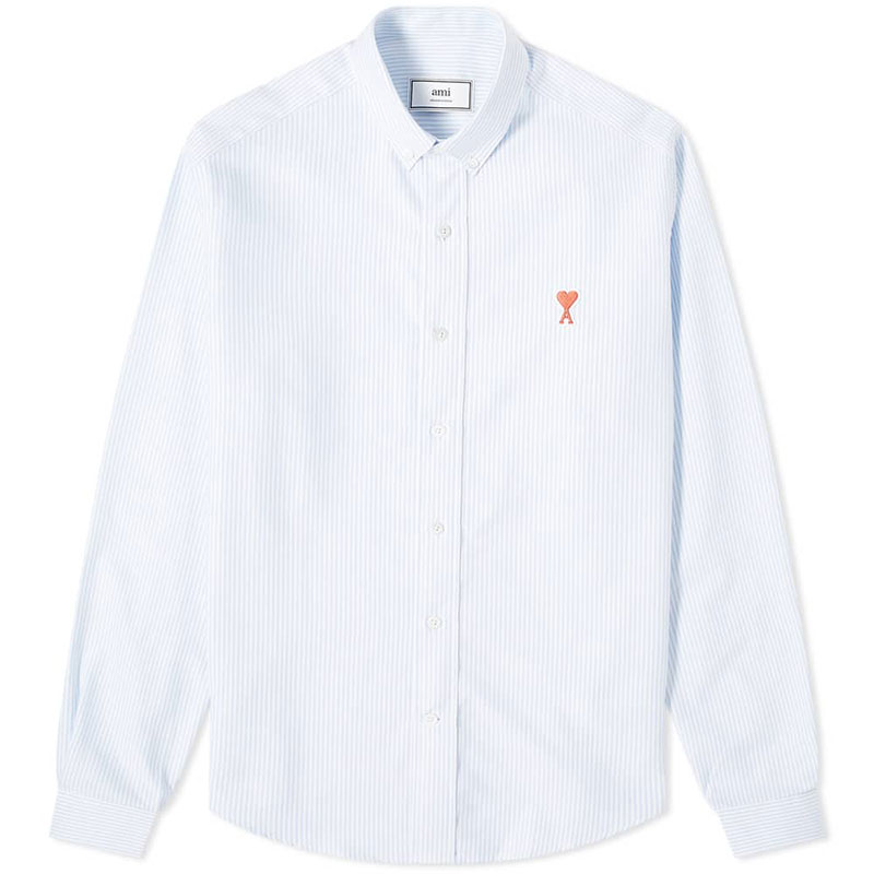[아미] 남성 하트로고 스트라이프 셔츠 (블루화이트) A20HC013.401 406