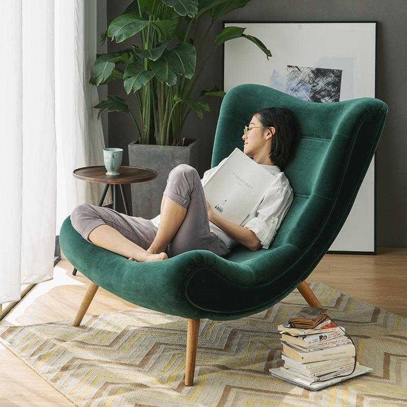 노르딕감성1인용 달팽이 쇼파 벨벳 스네일 체어 중대형사이즈 책읽기좋은 의자 커플체어, 옐로우 대형