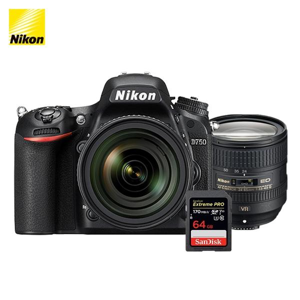 니콘 정품 카메라 D750(body) + AF-S 24-85mm f/3.5-4.5G ED VR SD 64G 메모리, D750 + AF-S 24-85mm + SD 64G 메모리