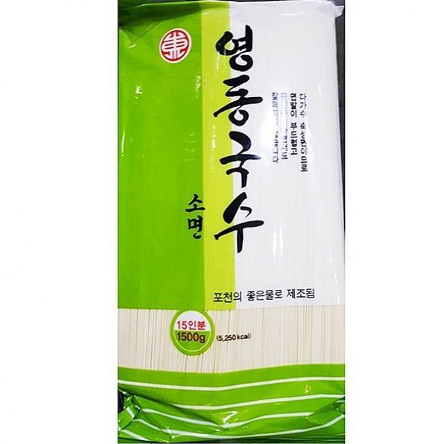 윤성커뮤니케이션 영동 잔치 소면 국수 1.5K 12봉 중면, 1