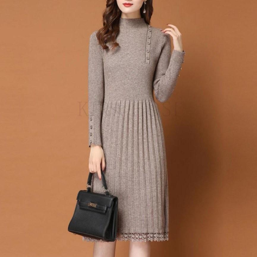 kirahosi 패션 슬림핏 니트 스커트 미디 니트 원피스 115호+덧신증정 BVyayomi