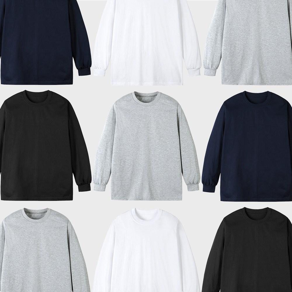 지프라브 남여 30수 라운드 긴팔 무지티 시보리 티셔츠
