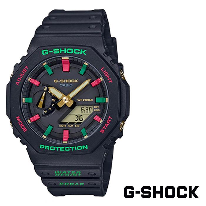 [G-SHOCK] 지샥 GA-2100TH-1A 지얄오크 카본코어가드 그린레드 우레탄 손목시계