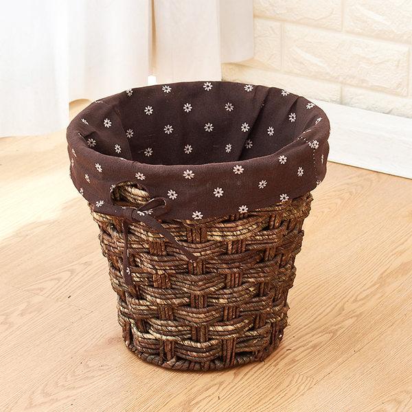 라탄공예 내집꾸미기 여름인테리어 다용도 라탄바구니, 둥근 옥수수 피카 데이지 천