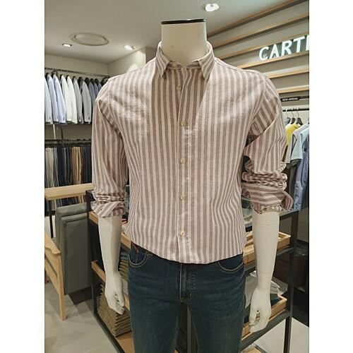 [까르뜨블랑슈] 스트라이프 린넨혼방 셔츠 2컬러 CMM1WS02