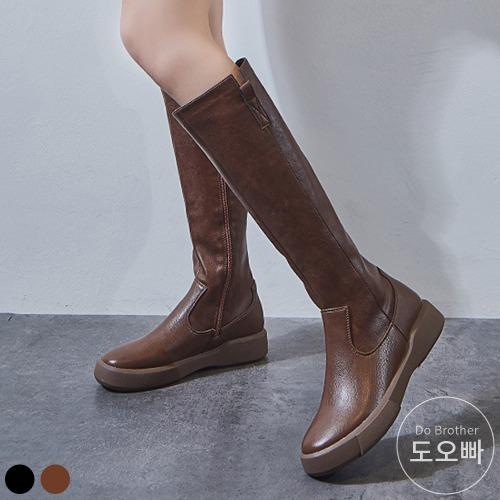 도오빠 여성 가죽 롱 부츠 가을 겨울 첼시 여자롱부츠 지퍼 발편한 신발 로우힐