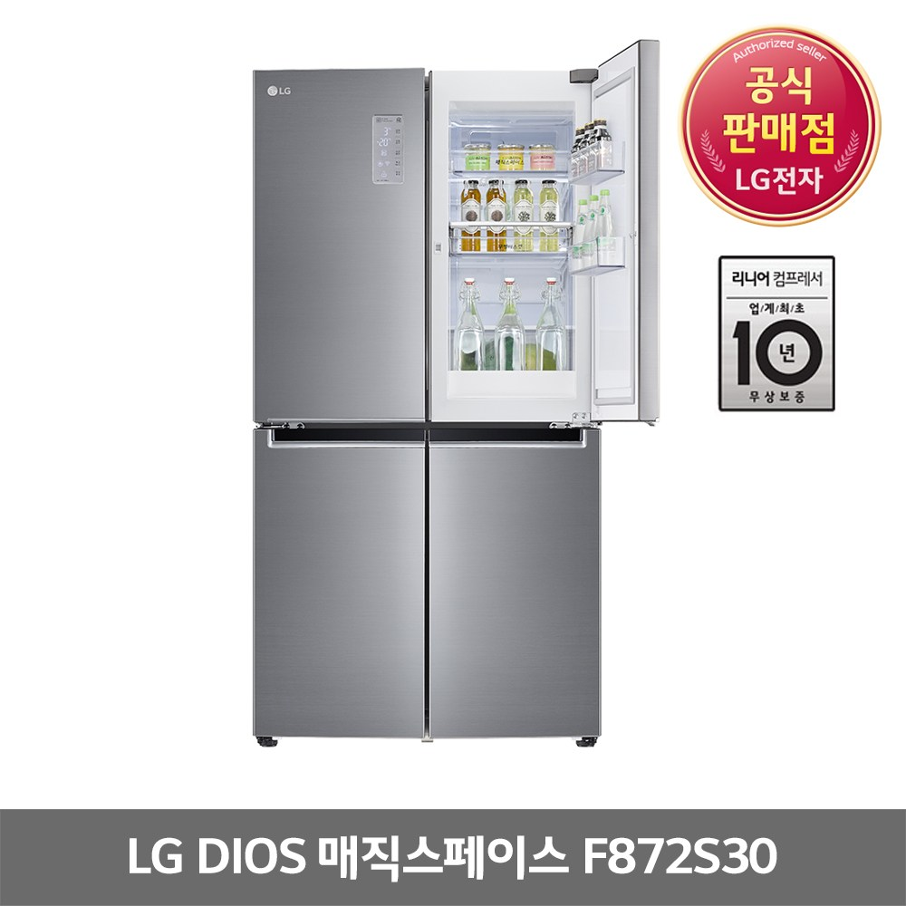 LG 디오스 F872S30 매직스페이스 4도어 냉장고, F872S30(LG물류직배송)