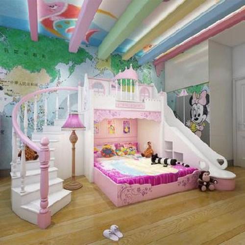 유아벙커침대 형제침대 어린이 침대 여아침대 어린이방공주침대 소녀드림캐슬 핑크 미끄럼틀 아, 01 분홍색, 01 벨트, 01 1800mmx2000mm
