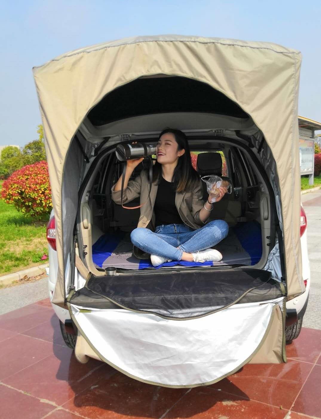 이효리 제주 속초 감성 캠핑 카박 도킹 차량 후방 연결 차박하기 좋은 차 텐트 쉘터 용품, 04-카키색 옷감