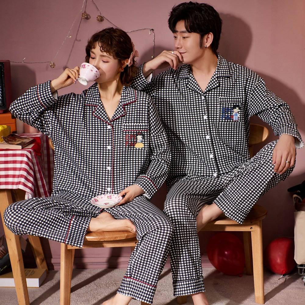 로리돌스 프린스&프린세스 블랙 체크 순면 커플잠옷