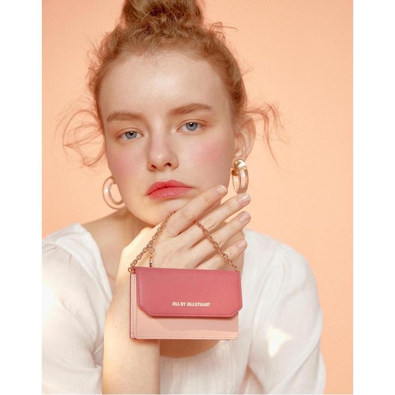 질 바이 질스튜어트 악세서리 20FW 핑크 가죽 레터링 로고 체인 카드 지갑 JLWA0F143P2