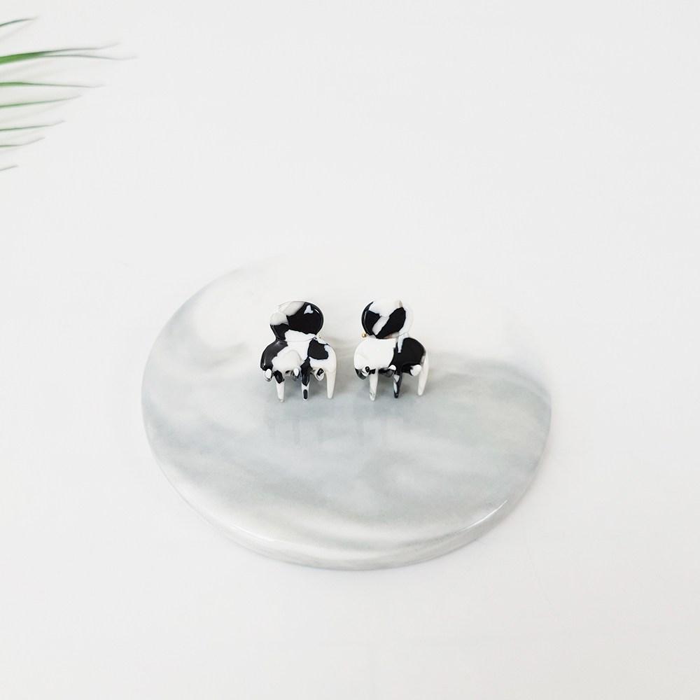 프랑스핀 호피 마블 동백이 착용 포인트 미니 헤어 집게핀 (2개1세트)