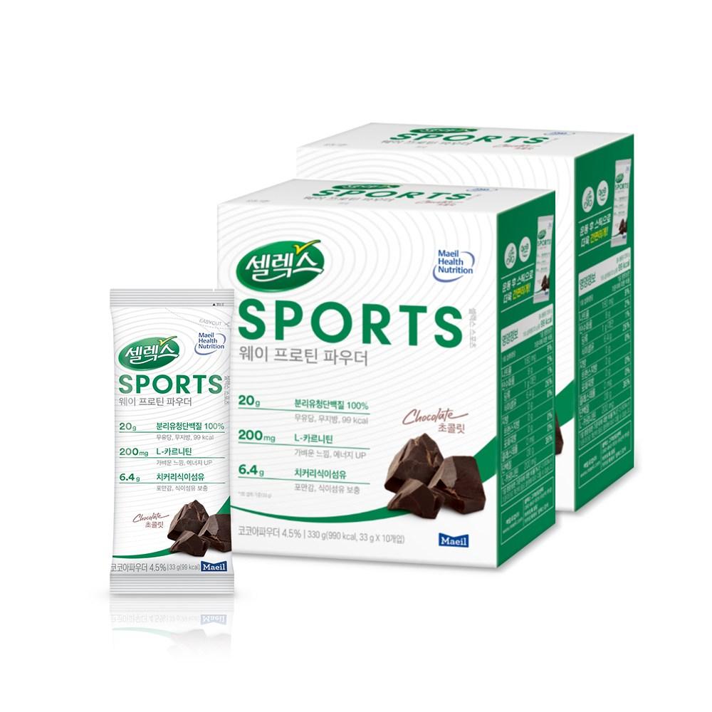 [매일유업] 셀렉스 스포츠 웨이 프로틴 파우더 분말 스틱 (초콜릿맛), 33g*20개입