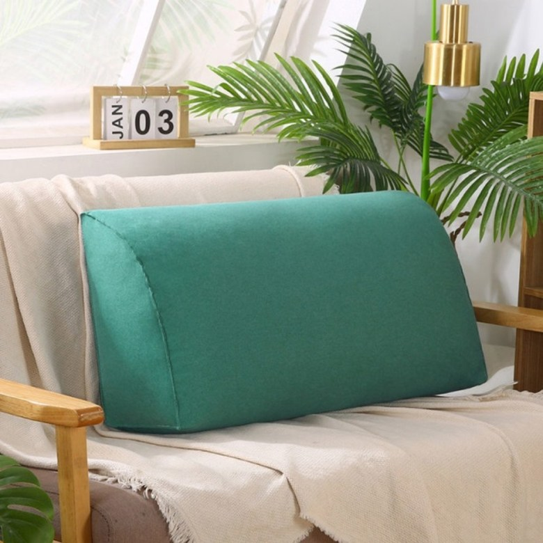 쇼파 침실 대형 등쿠션 푹신하고 사이즈가큰 푹신한 삼각 사각 요추베게 기숙사 침대 거실 임산부 등받이쿠션, 70x35x17(진주면+코트) + 연한초록 (POP 5890299522)