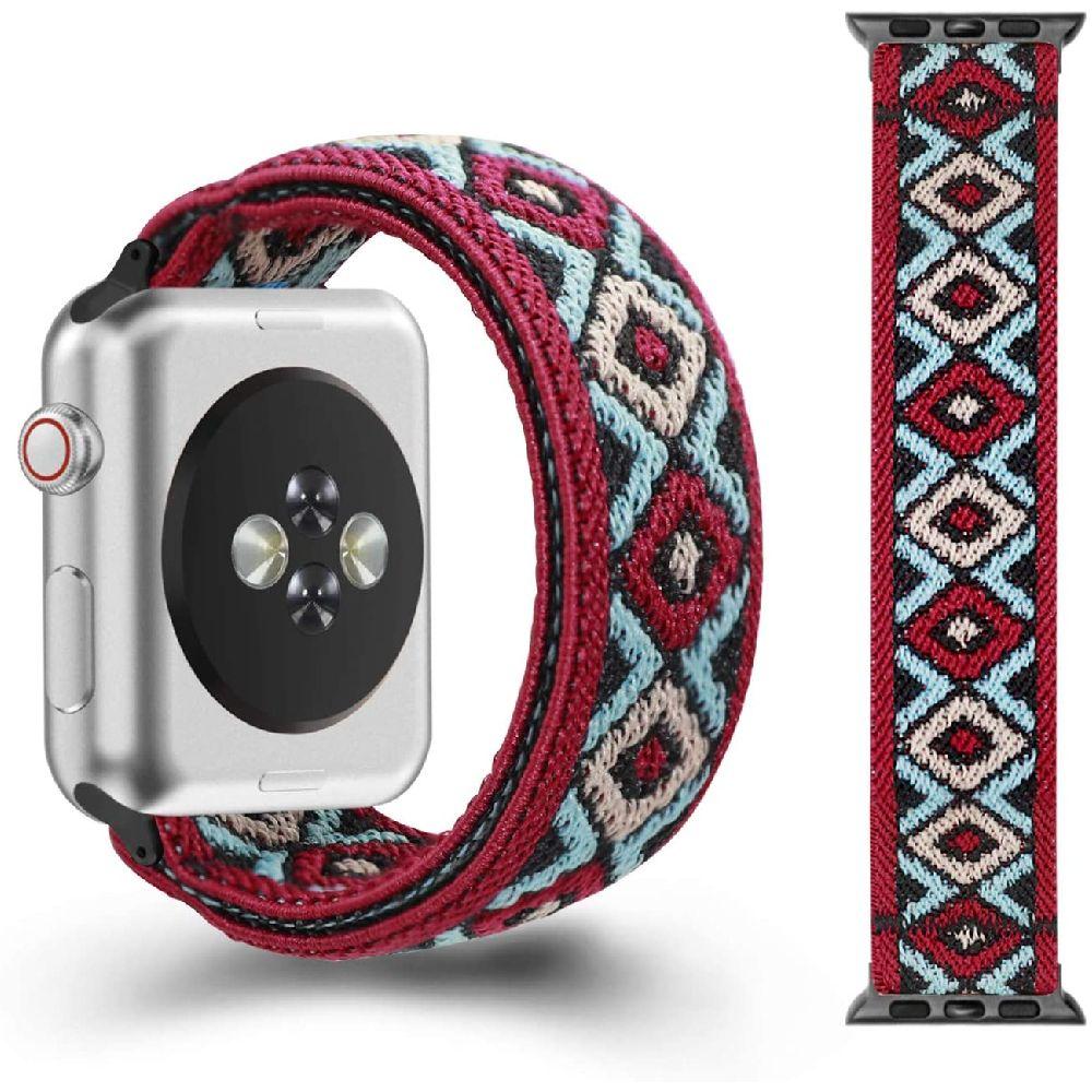 CreateGreat 애플 시계 38MM 40MM 2019 iWatch 시리즈 5 4 3 2 1 더블 사이드 탄성 패턴 스트레치 밴드와