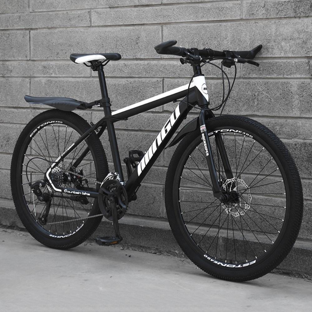 저렴한 가성비 입문용 산악용 남성 여성 학생 충격흡수 MTB 자전거, 24인치 + 높은 버전-흑백 + 21단