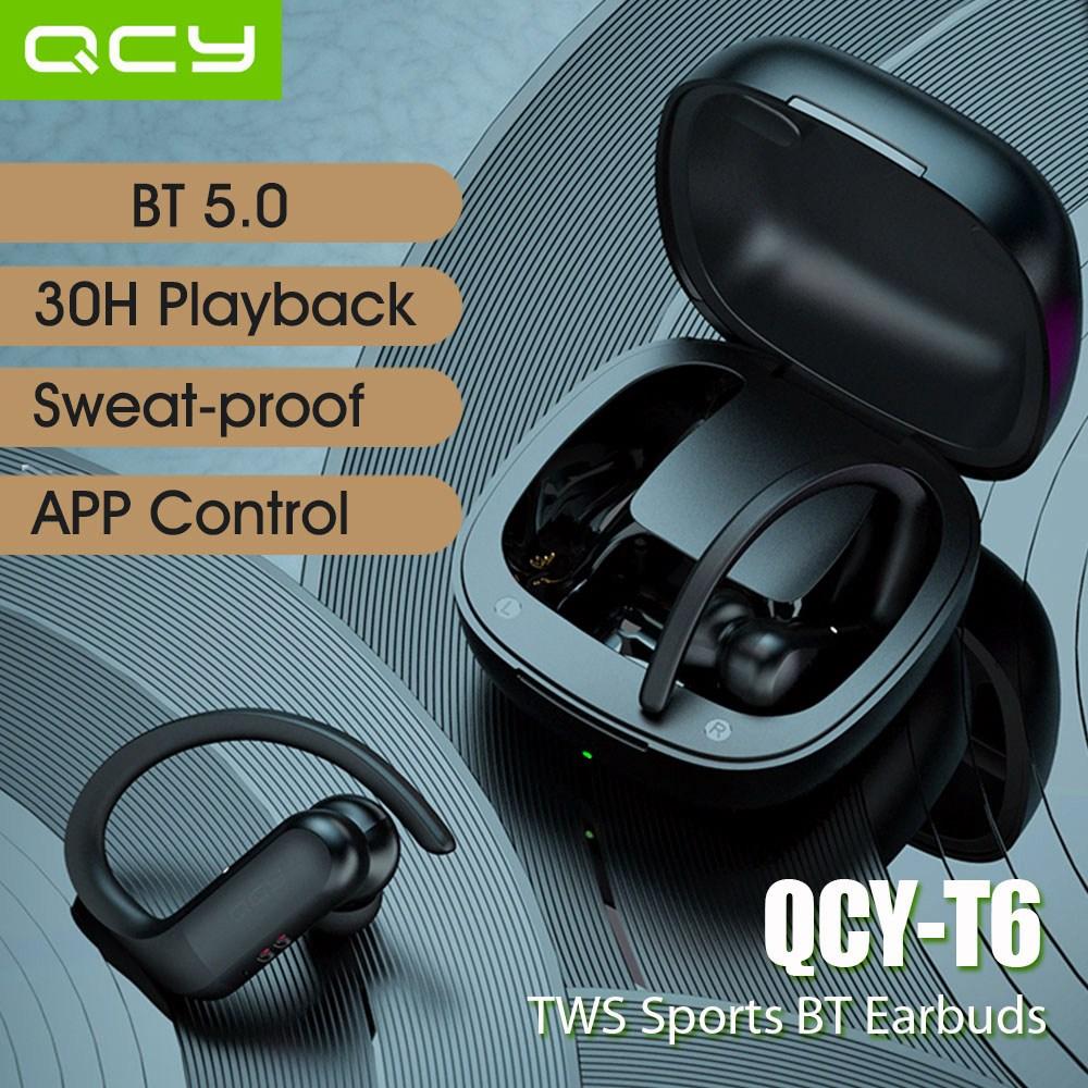 QCY 2020 최신 T6 BT 5.0 TWS 블루투스 헤드셋 블루투스이어폰, 블랙