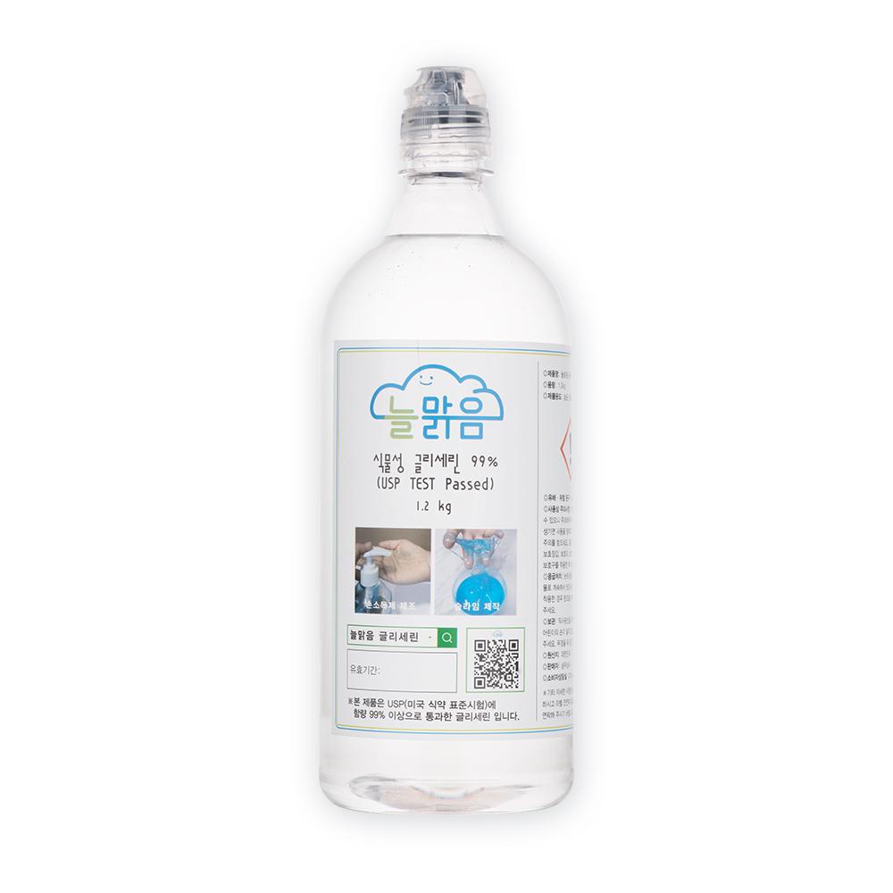 LG생활건강 식물성글리세린 99% 1.2kg 한국알콜 식물성에탄올99% 불멍 에탄올난로 소독용, 1개, 투명 튜브캡1L용기(글리세린 용기)