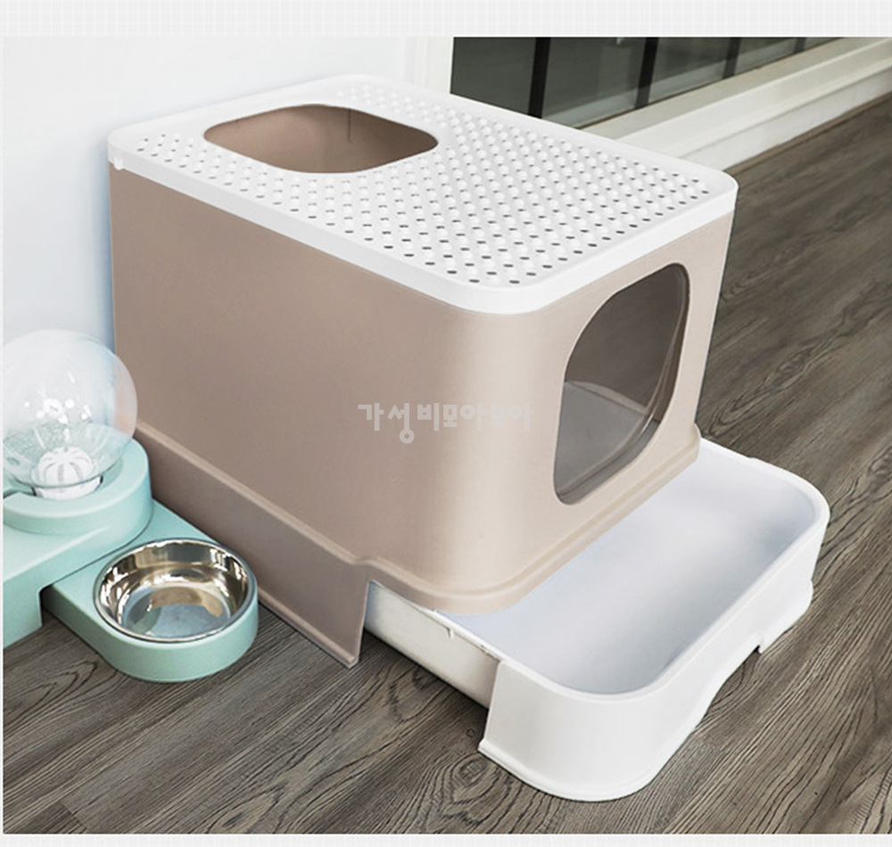 대형 묘래박스 즐똥 굿똥 강집사 캡슐 사막화방지 서랍형 고양이 화장실, 퍼플