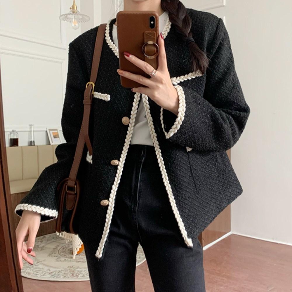 타니즈 세이즈 트위드 여성자켓