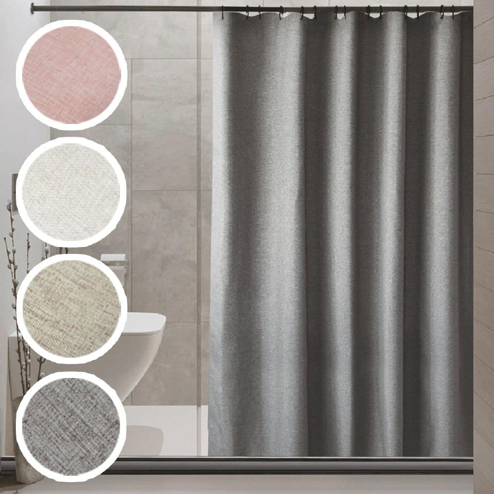 패브릭 멜란지 방수 샤워 커튼 고리포함 욕실 다용도, 샤워커튼(180x180)대형:핑크