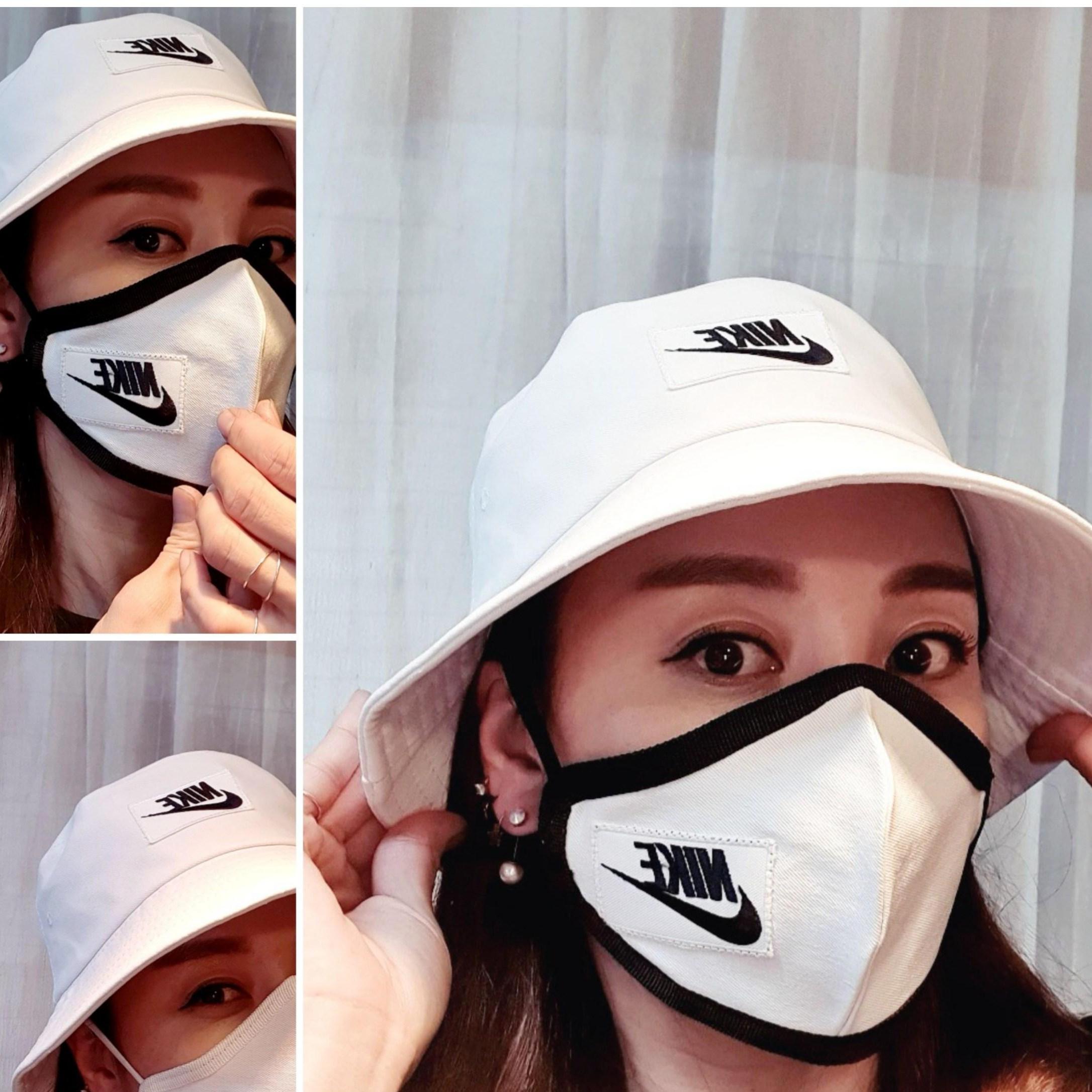 jini 화이트 나이키 패턴 벙거지+마스크 (숏) 남녀공용 세트