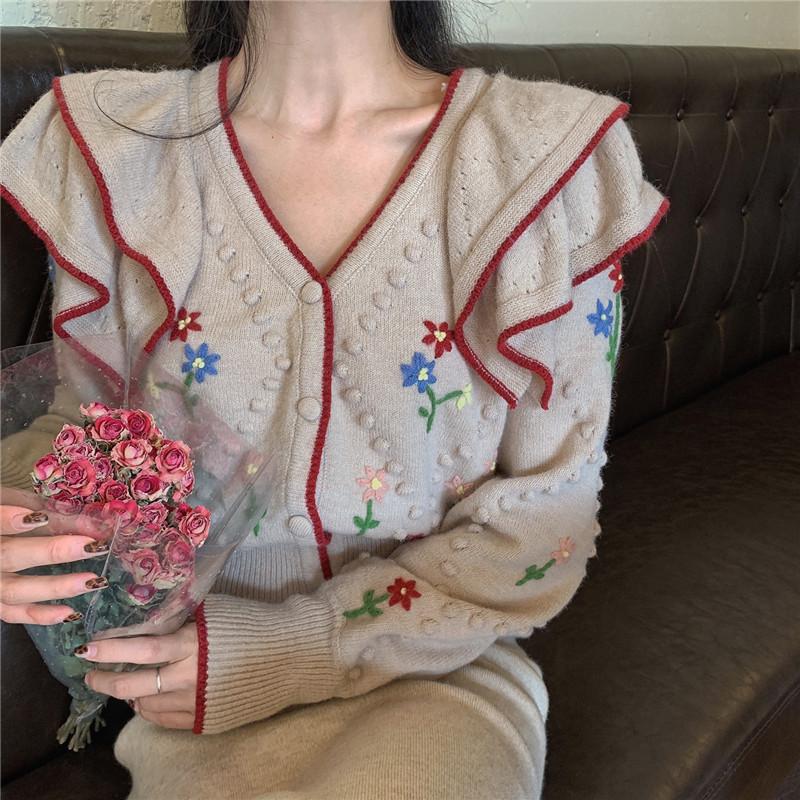자라 ZARA 2020 여성 러플 탑 니트 크롭 가디건 자켓