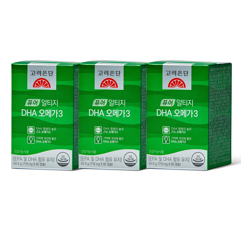 고려은단 퓨어 알티지 DHA 오메가3 42.6g (710mg x 60캡슐), 60캡슐, 3개
