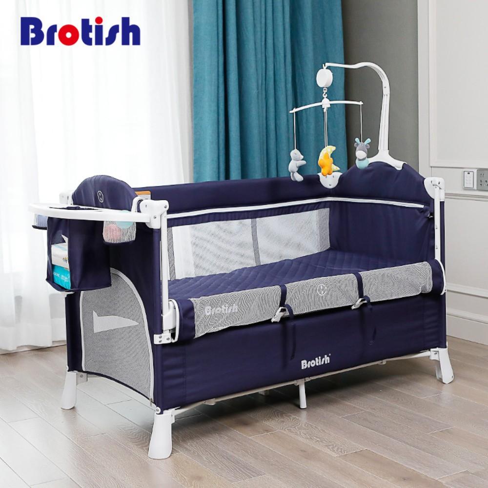 BROTISH 이동식 접이식 아기침대, 네이비블루