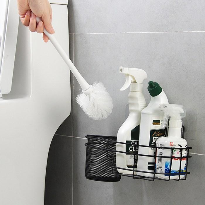 퍼니싱굿즈 접착식 철제 욕실 변기솔 청소도구 정리선반 - 2size, 대형