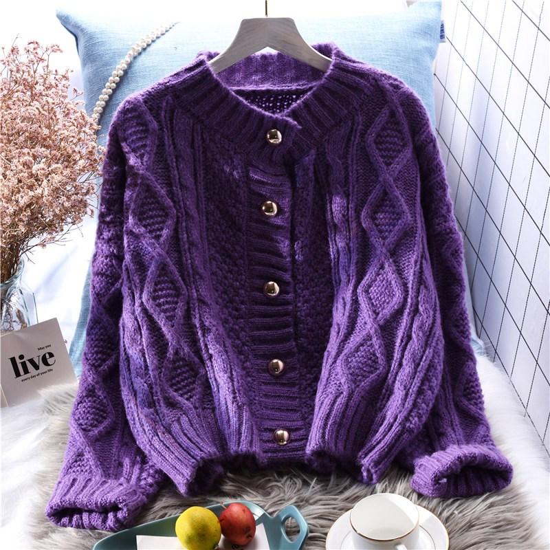 트위드가디건 꽈배기 털옷 카디건 여자숏스타일 루즈핏 가을겨울