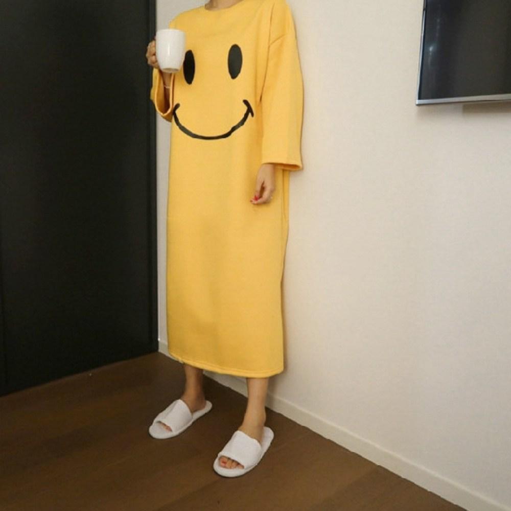 데코라멘 긴팔 원피스잠옷 여성파자마 간절기 빅사이즈 홈웨어