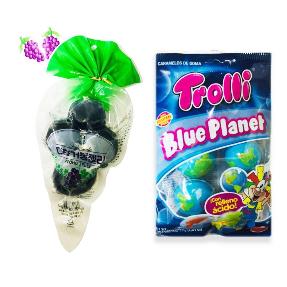 예이니식품 디담 거봉젤리+트롤리 지구젤리 2종 각1개씩(총2개) 쿄호포도과일눈알계란 젤리 푸딩 사탕, 1세트