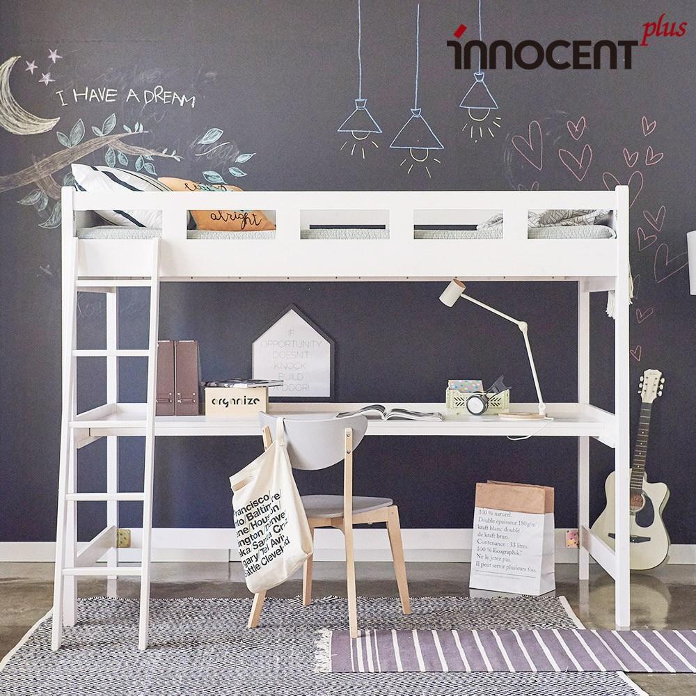 이노센트플러스 헤이즈 책상 원목 이층침대+양면폼 매트포함, 화이트워시