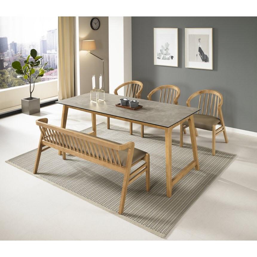 써클 오리지널 Italy 세라믹 6인용 식탁세트 1800 대형사이즈 원목식탁 (벤치+의자3 구성), 화이트