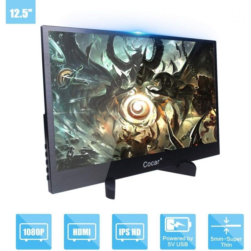휴대용 모니터 12.5 인치 초박형 풀 HD 1920x1080P IPS 5mm 화면 PC PS4 X 박스 DVD 듀얼 HDMI 플레이어, 단일상품