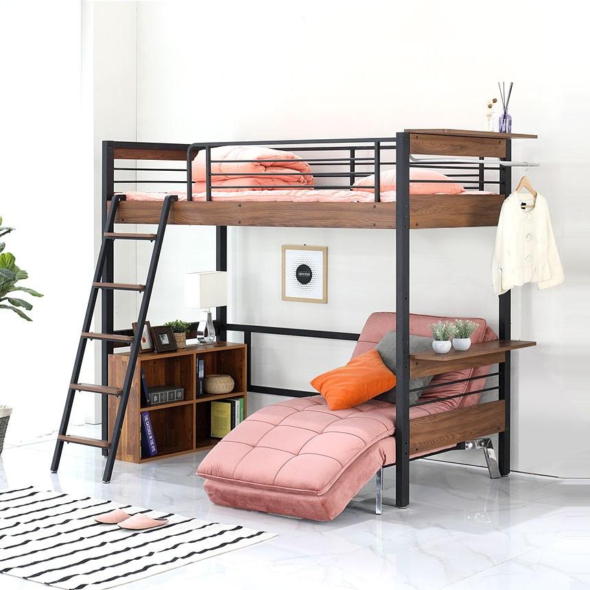 오키멧 북카페W 벙커 침대 (싱글 수퍼싱글), 블랙(매트제외)