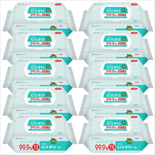 유한킴벌리 그린핑거 손소독 물티슈30매(캡형)x10개, 1개, 1box
