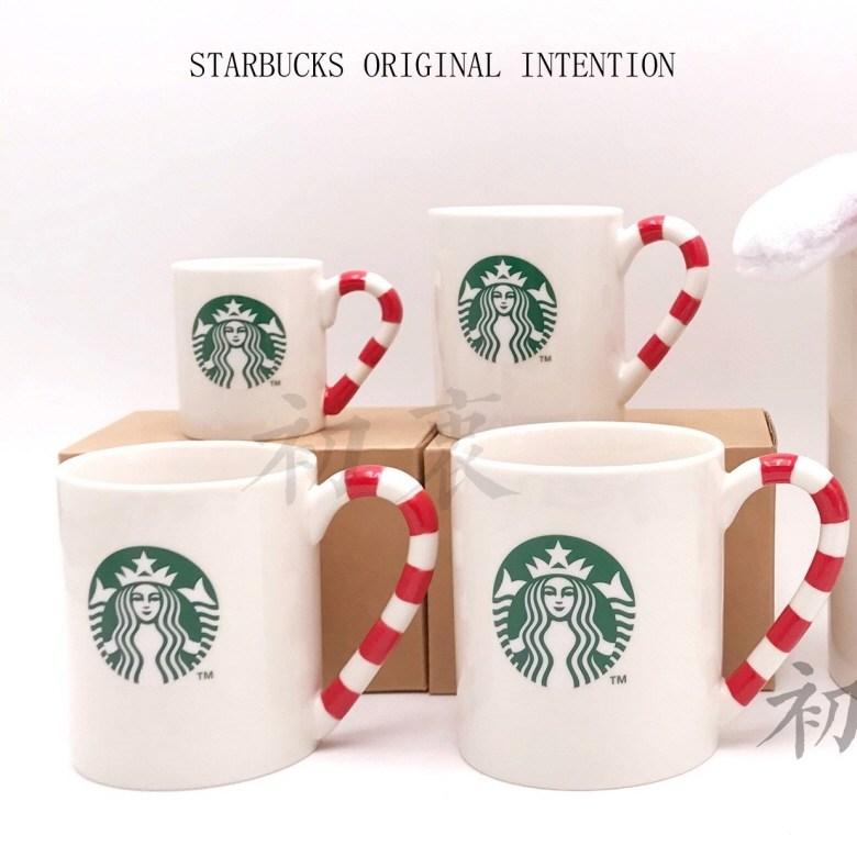 starbucks 스타벅스 컵 로고 클래식 화이트 머그컵 사탕지팡이 핸들 세라믹 크리스마스 머그잔 (단품), 화이트 - 237ml