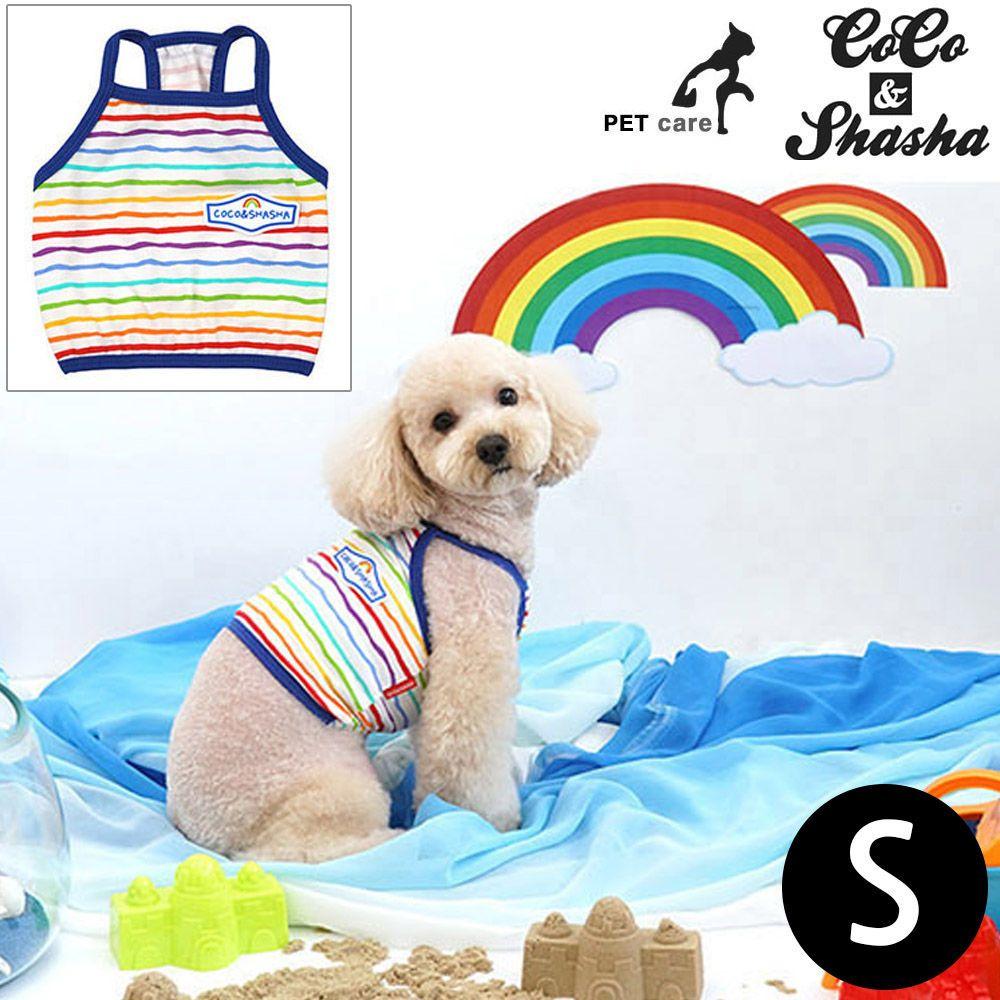 YJ_78616 + 강아지 티셔츠 +TWON#+ 레인보우 크롭 티셔츠 (블루) (S)