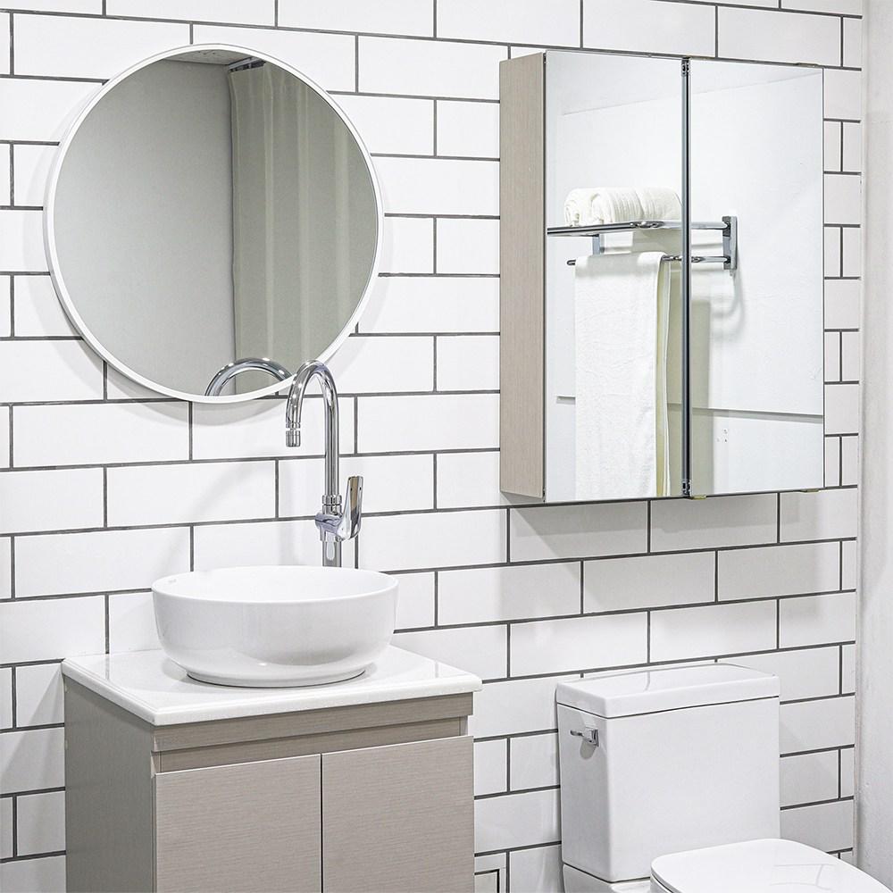 모카 전면 거울 슬라이드 도어 욕실 수납장(600X800), 아이보리, 1개