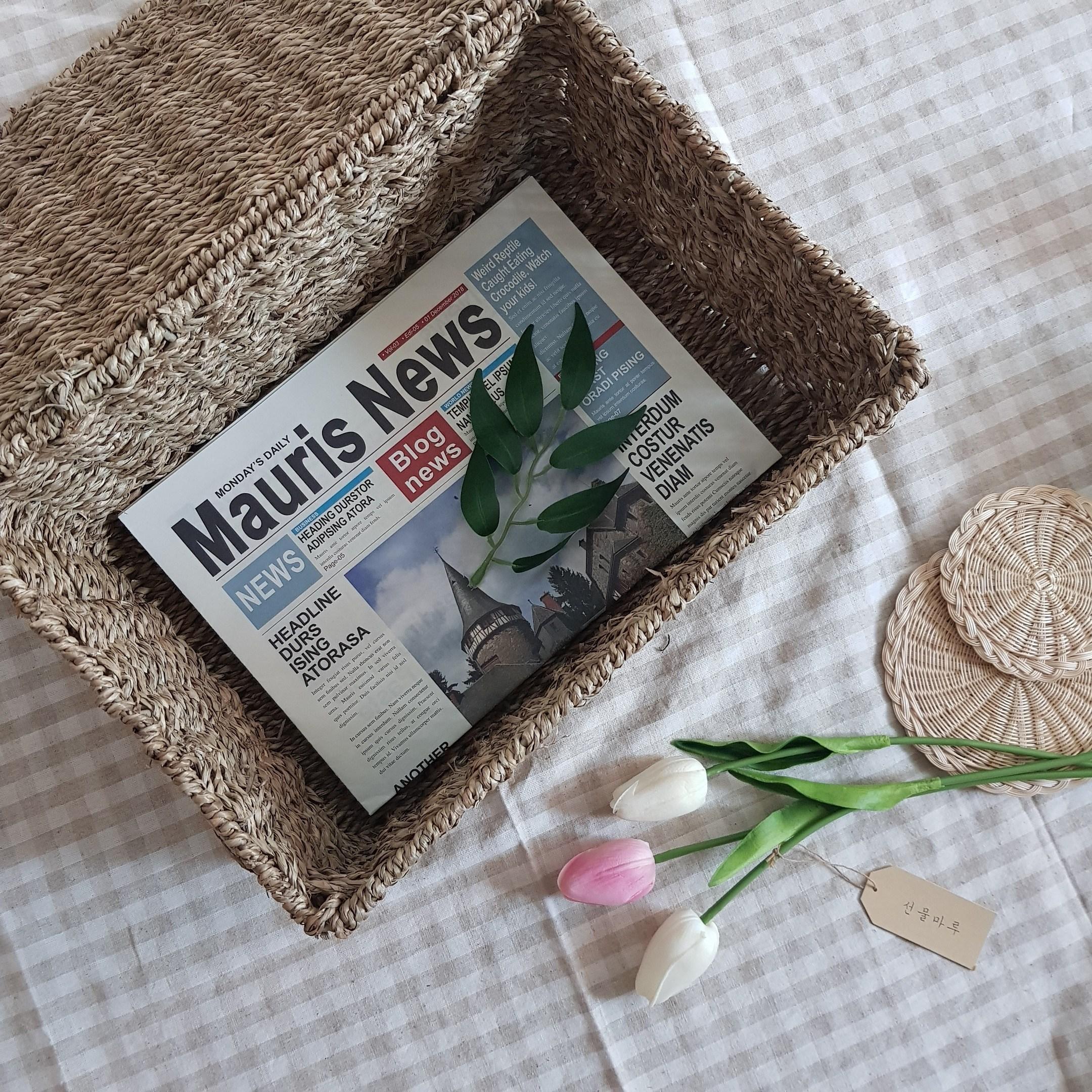 선물마루 사각 순수 해초 바구니 2종 뚜껑 라탄공예 수납 정리함 왕골 팬트리 정리 발리소품 바스켓, 사이즈(대)