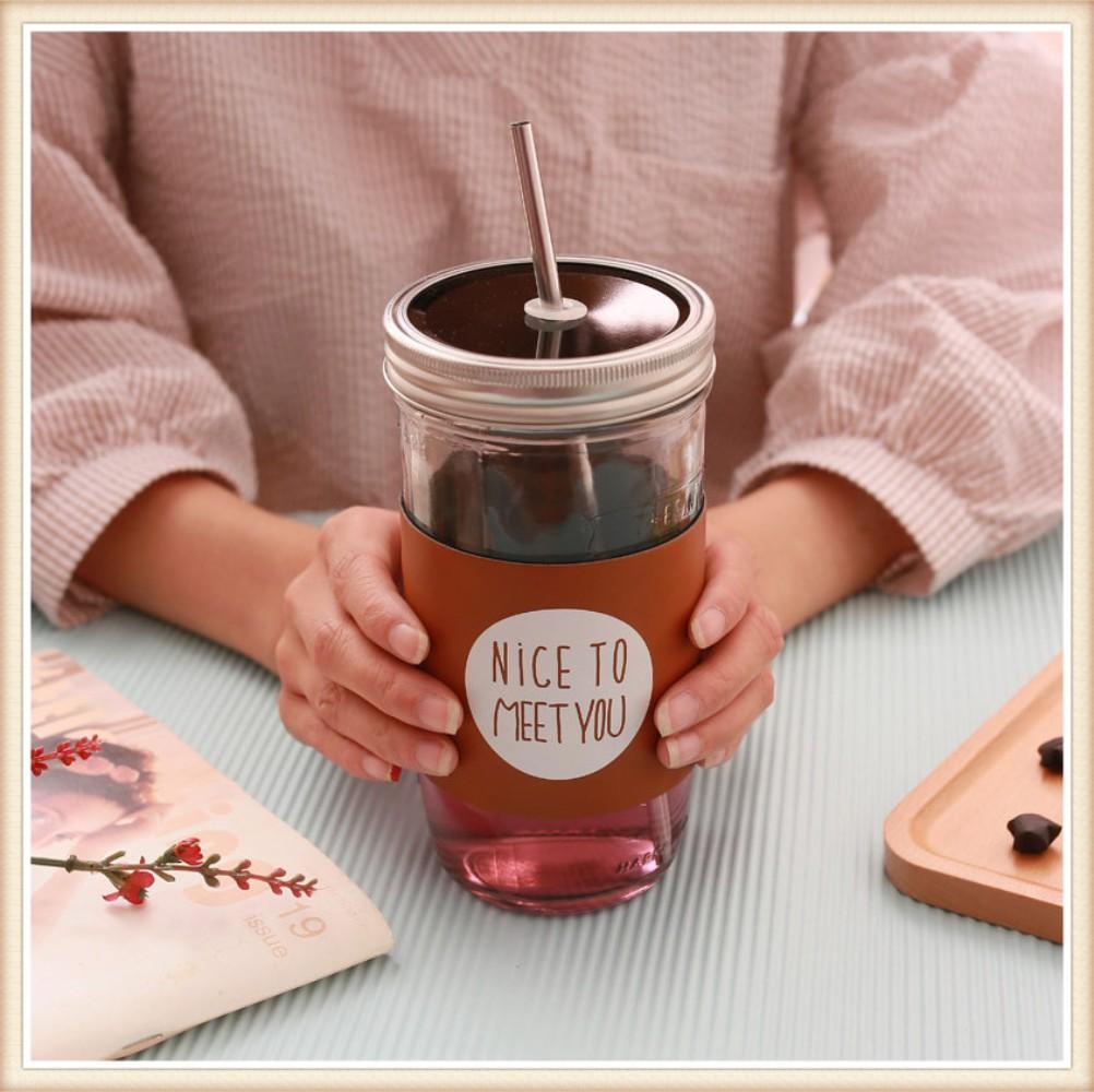 커피스틱 한국 아이디어 성인 빨대컵 대용량 유리컵 덮개포함 수탉 따뜻한음료수 커피포트, 700ml 규모의 브라운