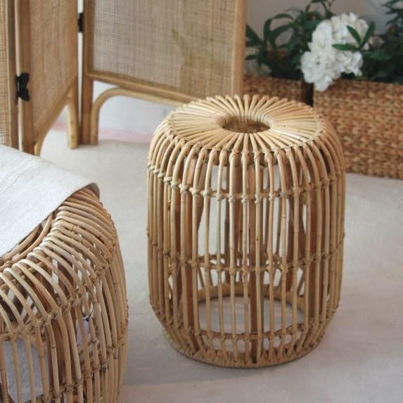 비앙코가구 라탄 원형 원목 스툴 의자 내츄럴