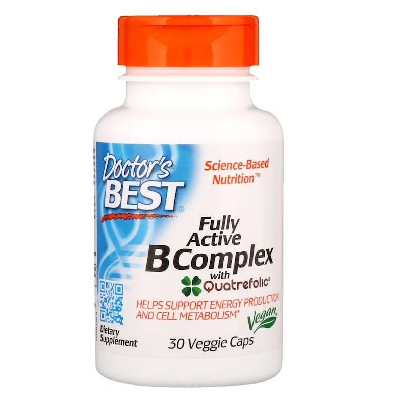 Doctor's Best Fully Active B Complex with Quatrefolic 30 식물성 캡슐