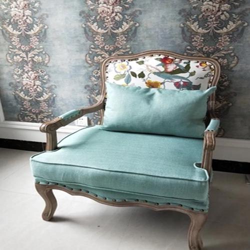준준가구 패브릭.가죽 클래식소파 의자 1인용 소파, 녹색패턴패브릭