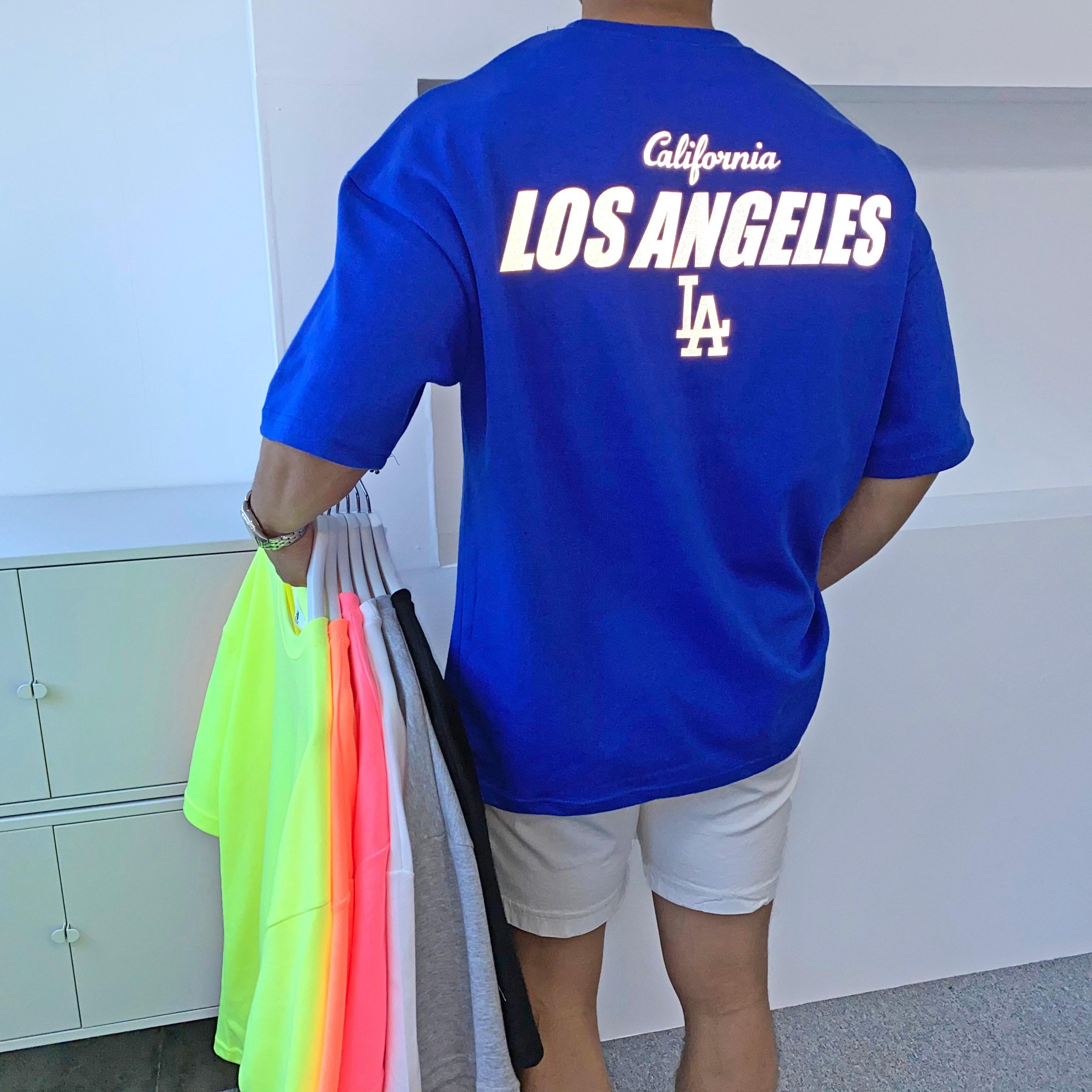 간빠레 로스앤젤레스 LA 스카치 네온형광 오버핏 반팔 티셔츠