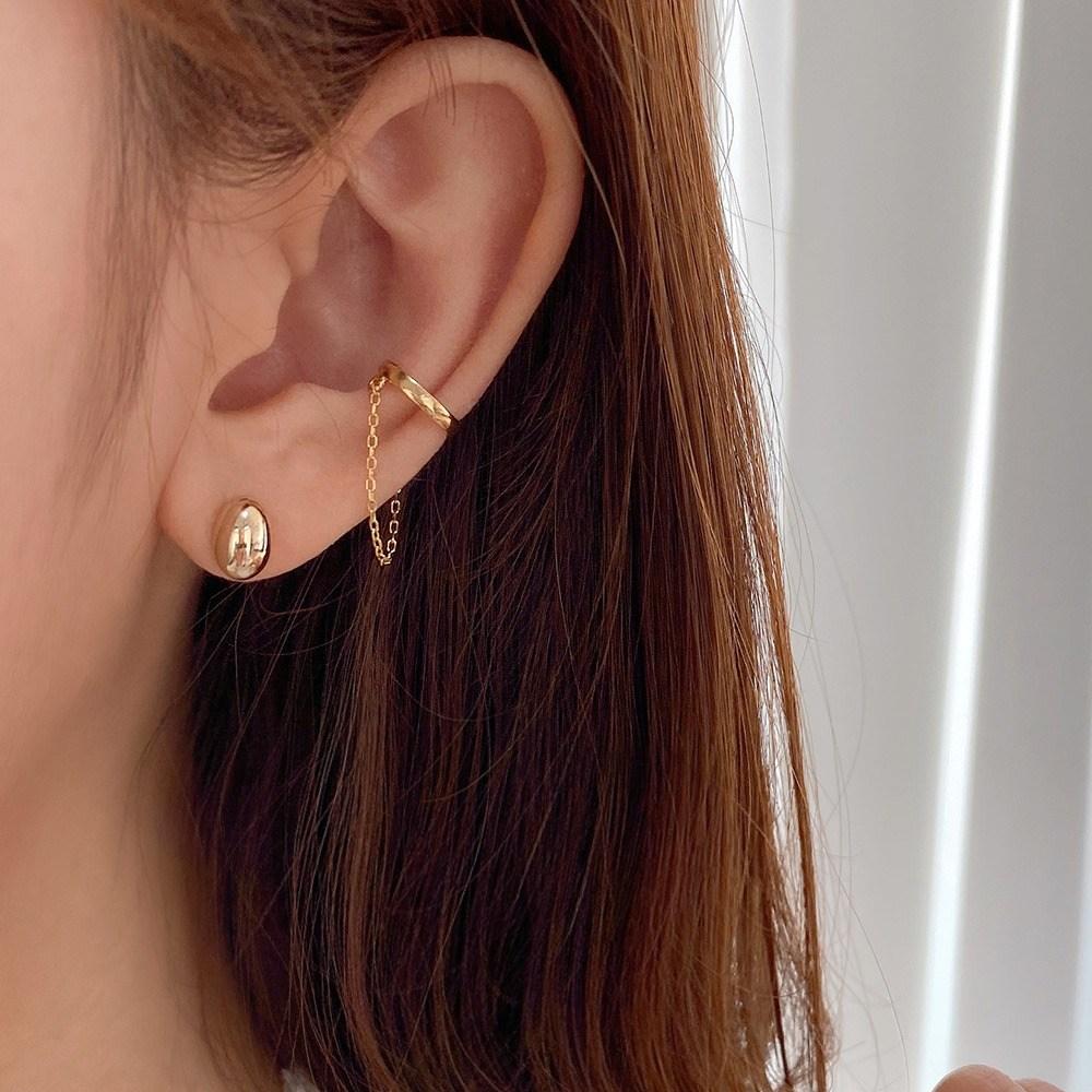 초콜리트쥬얼리 [all silver][무배] 로델리 체인 연결 이어커프 1개 귀걸이