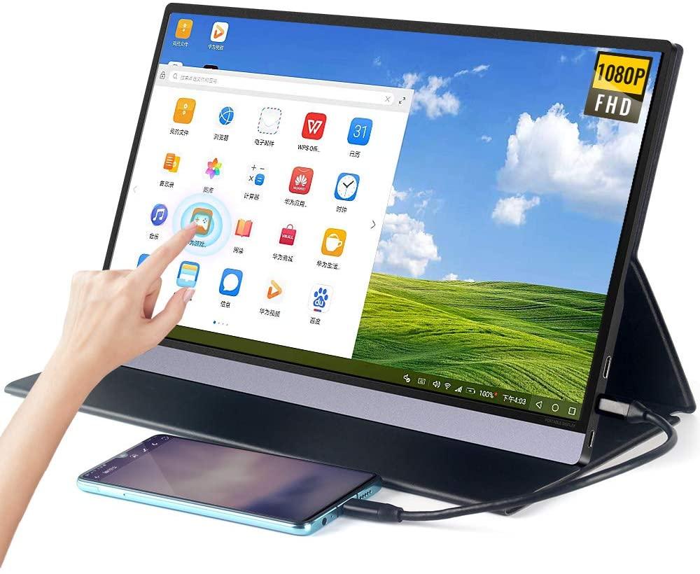 landzo 휴대용 터치 모니터 업그레이드 15.6&quot. ips hdr fhd 눈 관리 화면 유에스비 c 게임 디스플레이 컴퓨터 디스플레이 hd type-c 미니 에서 ot, 기본 (POP 5663942538)