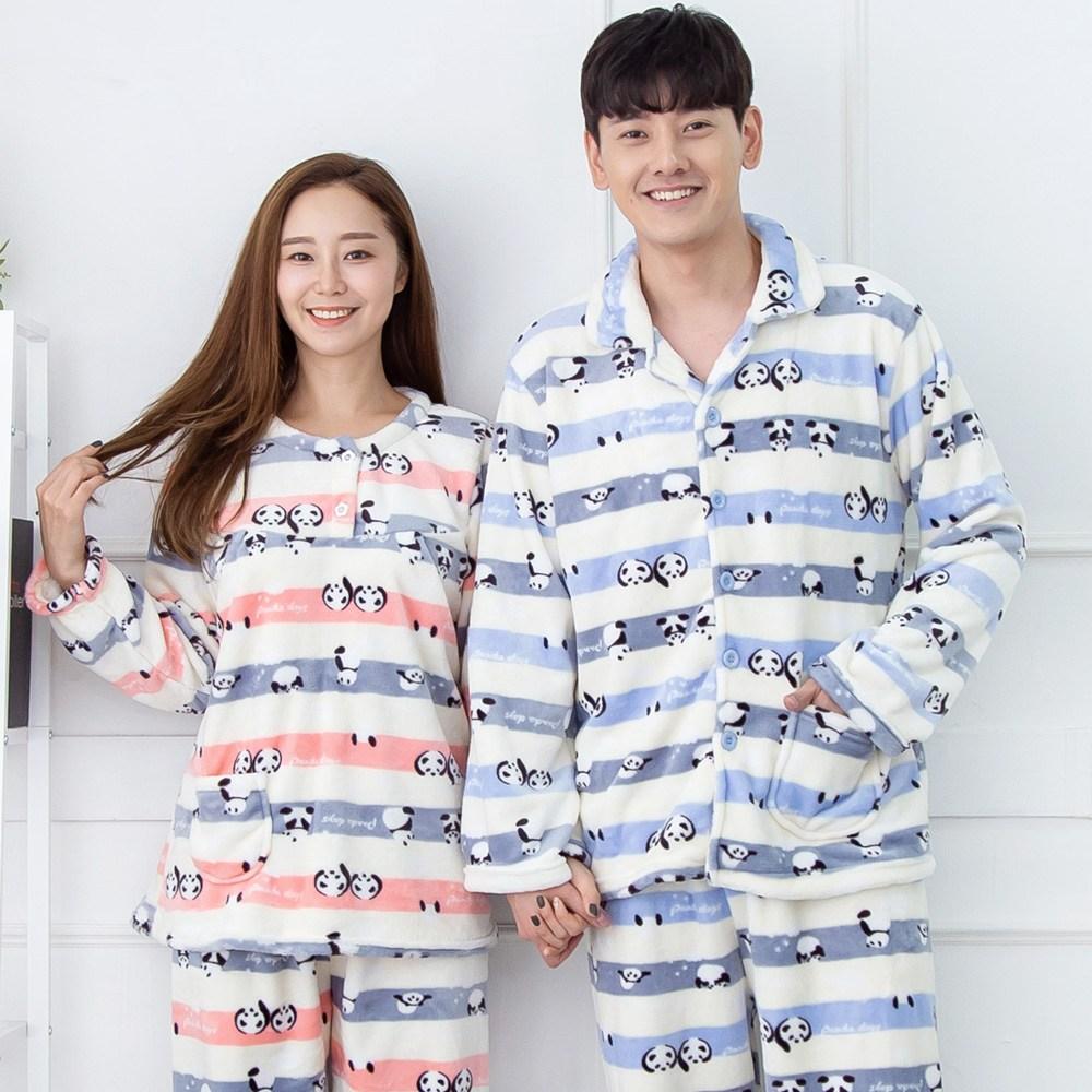 핑크워너비 팬더라인 커플용 남성+여성 밍크 수면잠옷